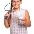 Girl playing badminton — Stock Photo
