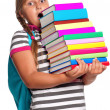 Girl with books - Photo