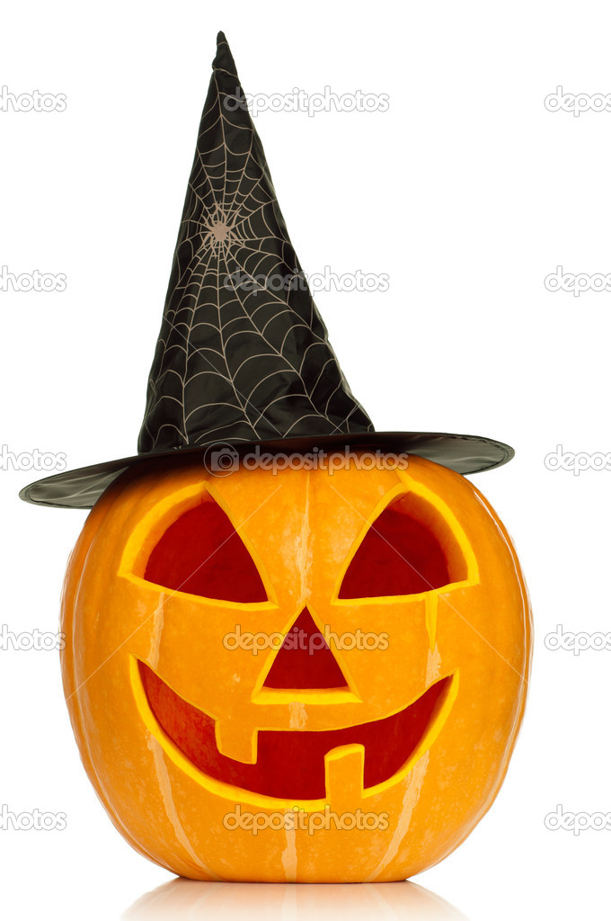 Funny Halloween pumpkin with black hat isolated on white background  Stock Photo #13273136