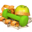 Dollars and dumbbells — Foto Stock