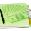Dollars and exercise book — Stock Photo #13483038