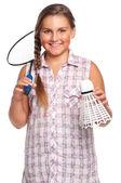 Girl playing badminton — Stock Photo