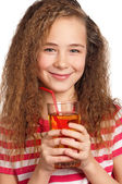 Girl with apple juice — Photo