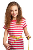 Girl with measure — Stock Photo