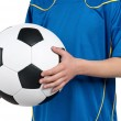 Boy in ukrainian national soccer uniform — Stock Photo