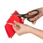 Hand with scissors — Stock Photo