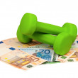 Euro and dumbbells - Foto Stock
