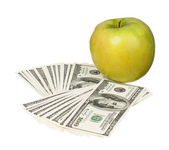 Dollars and apple — Stock Photo