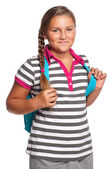 Girl with backpack — Stok fotoğraf