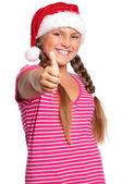 Girl in Santa hat — Photo