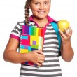 Girl with exercise books — Stok Fotoğraf #15408607