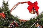 Vánoční proutěný koš — Stock fotografie