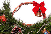 Christmas wicker basket — Stock Photo