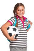 Schoolgirl with soccer ball — Stock Photo