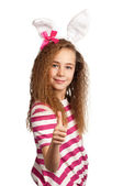 Girl with bunny ears — Stockfoto