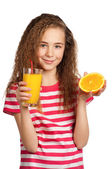 Girl with orange juice — Foto Stock