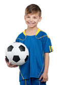 Boy in ukrainian national soccer uniform — Stock fotografie