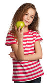 Girl with apple — Stock fotografie