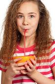 Girl with orange juice — 图库照片
