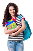 Girl with backpack — Stock Photo