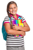 Girl with exercise books — Stock Photo