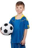 ウクライナ国立サッカー制服の少年 — ストック写真