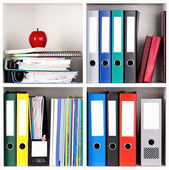 Folders on shelves — Stockfoto