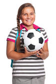 Schoolgirl with soccer ball — Stock Photo