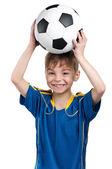 Niño en uniforme del fútbol nacional ucraniano — Foto de Stock