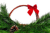 Christmas wicker basket — Photo