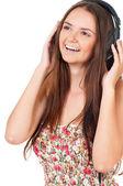 耳机的女孩 — 图库照片