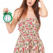 Stock Photo: Girl with alarm clock