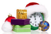 Alarm clock with santa hat — Stock Photo