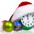 Alarm clock with santa hat — Stockfoto