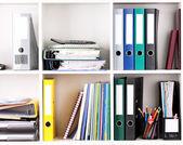 Folders on shelves — Stock Photo