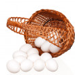 Eggs in wicker basket — Stock Photo