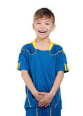 Boy in ukrainian national soccer uniform — 图库照片