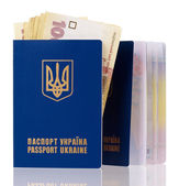 Ukrainian passports with Hryvna banknotes — Stock Photo