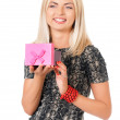 Woman with gift box — Stock Photo #39934549
