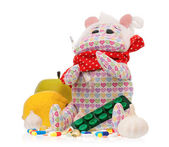 Toy hippopotamus with pills — Stock Photo