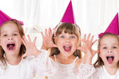 Little girls at birthday party — Stock Photo