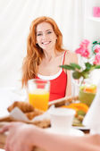 Breakfast in bed at home — Stock Photo