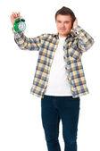 Man with alarm clock — Stock Photo