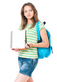 Girl with  exercise book — Stock Photo