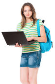 Girl with laptop — Stok fotoğraf