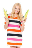 Woman with maize — Stock Photo