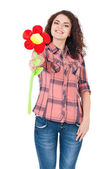 Girl with big flower — Stock Photo