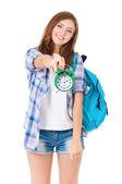 バックパックを持つ少女 — ストック写真