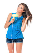Girl with hair dryer — Stock Photo