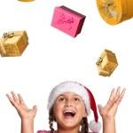Girl in Santa hat — Stock Photo